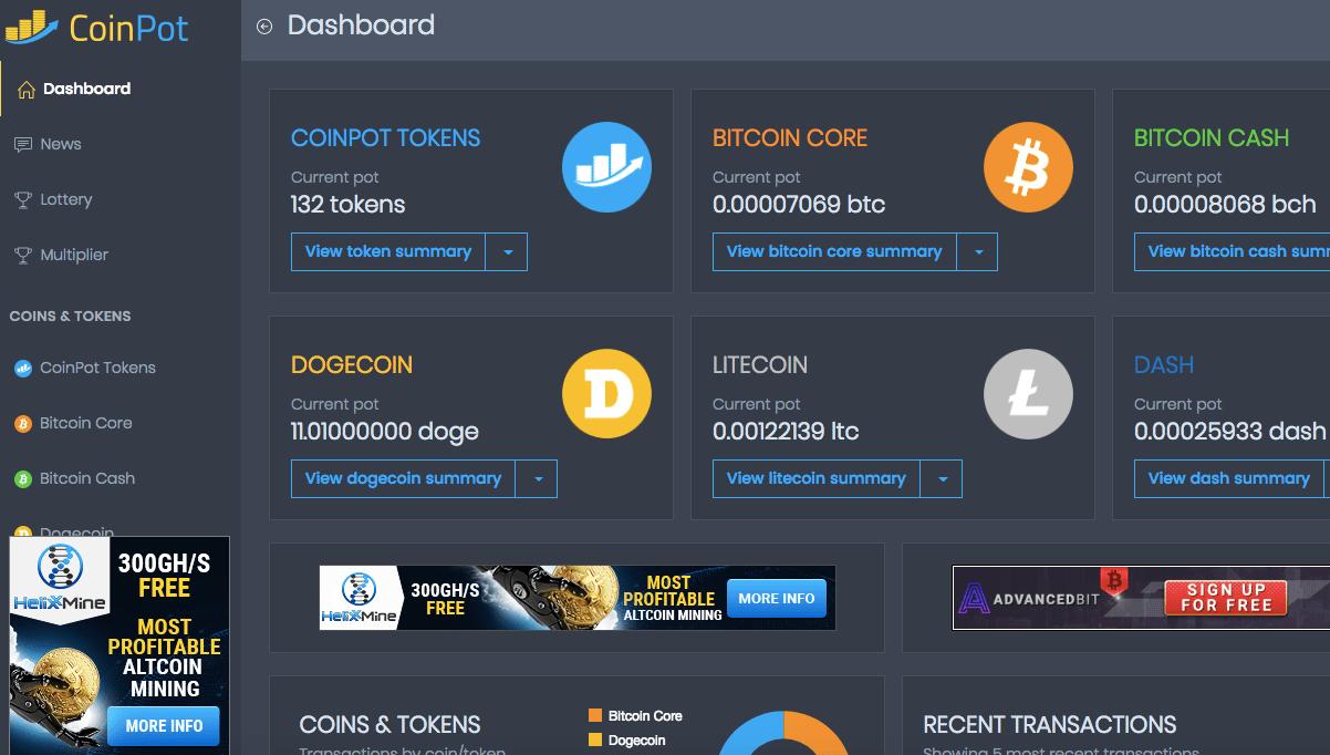 coinpot crypto faucet earning dashboard